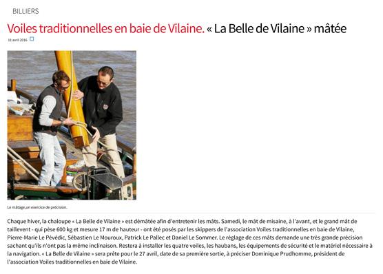 Voiles traditionnelles en baie de Vilaine. Belle de Vilaine mâtée...